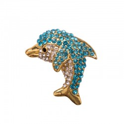 Magnet with rhinestones - Dolphin