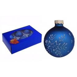 Set glass balls d-6 cm 6 pcs snowflake drop