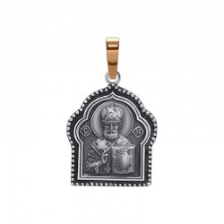 """Icon of silver with gold """"Nicholas the Wonderworker"""""""