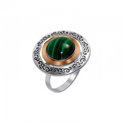 """Silver ring with blackening and faceted stone """"Gioconda"""""""