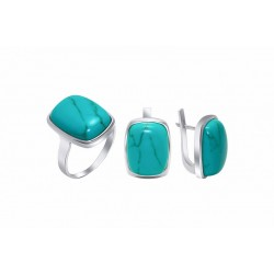 """Silver set with faceted stone - """"Emma"""""""