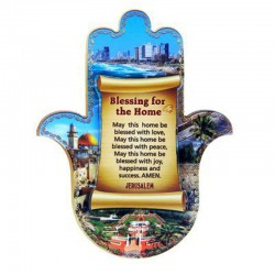 Stylish magnet Hamsa in English souvenir from the Holy Land