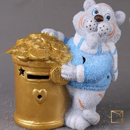 Piggy Banks Tigers With A Barrel Of Money 15.5-10-18 cm Blue