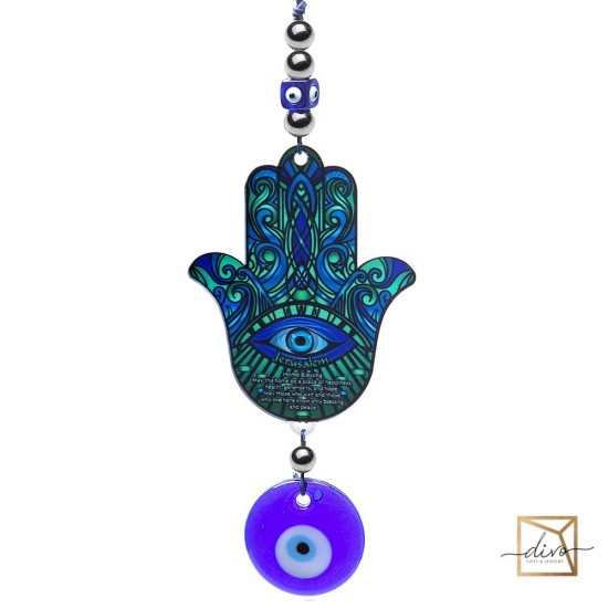 28333436,Hamsa with an eye on a 9-10.9 cm suspension is Blue. Blessing the house