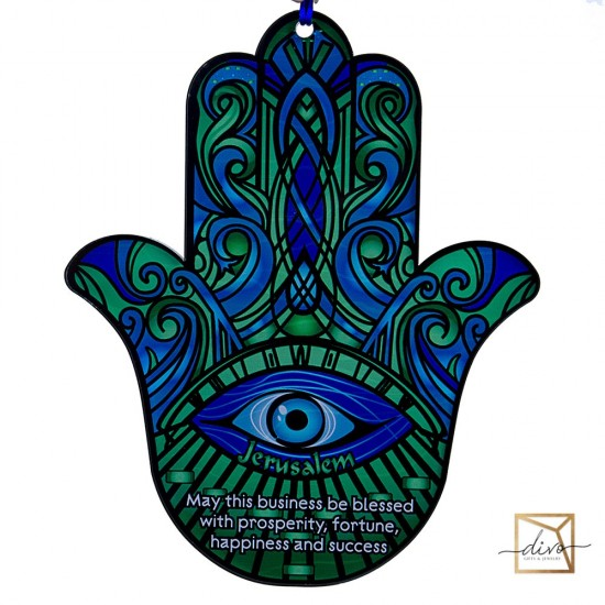 28333437_1,Hamsa on a suspension 19-1-23 cm Green Business Blessing