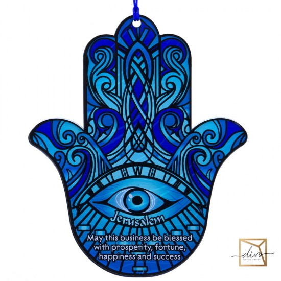 28333437,The hamsa on the suspension is 19-1-23 cm Blue. The blessing of business