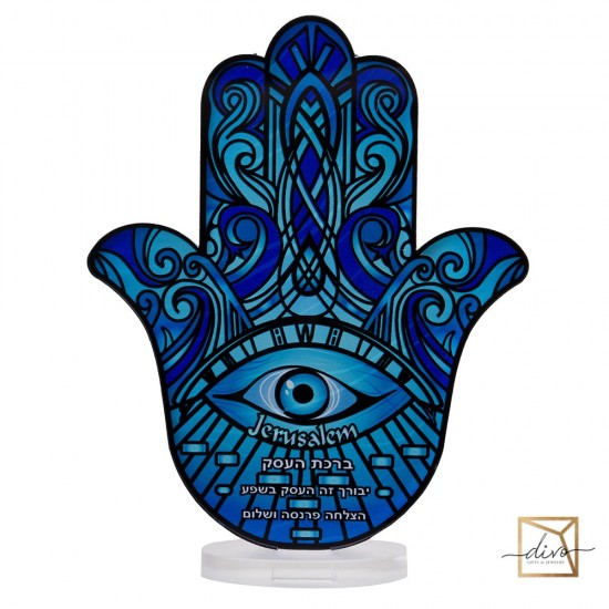 28333442,Hamsa on a stand 14.8-6-18.5 cm. The blessing of business