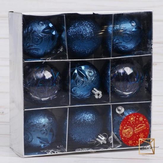 "Set of plastic balls d-6 cm, 9 pcs ""Festival"" blue"
