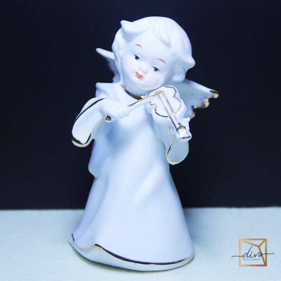 1202,Souvenir Ceramics Angel Under Porcelain Cobalt 8-7-13.5 cm