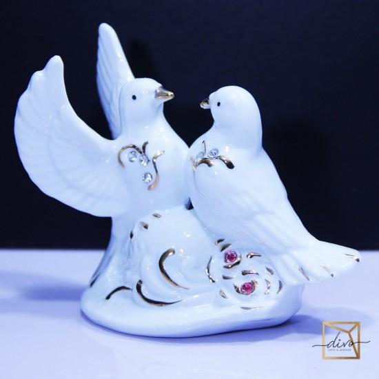 1203,Souvenir Ceramics A pair of Pigeons Under Porcelain Cobalt 12-5-9.5 cm