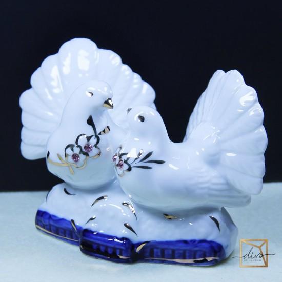 1204,Souvenir Ceramics 2 Cooking Doves Rhinestones 4.5-11-8 cm