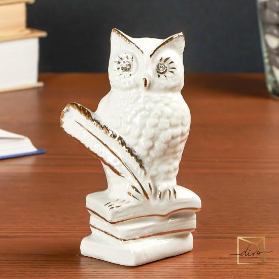 1205,Souvenir Ceramics White Owl On Books With Feathers Rhinestones 8-9-12 cm