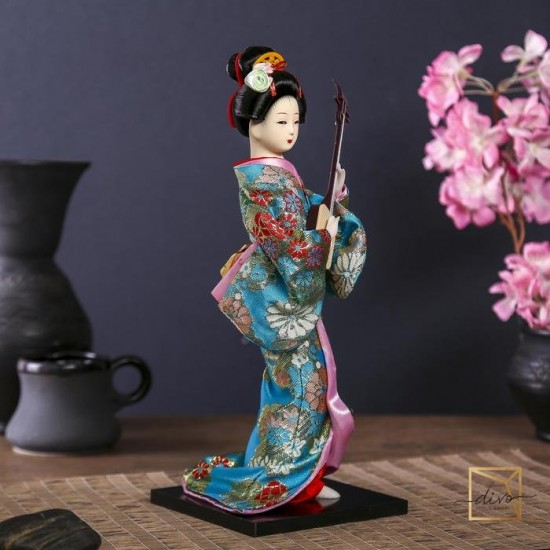"""10911401,Collectible doll """"Geisha in a floral kimono with a musical instrument"""" 30 cm"""