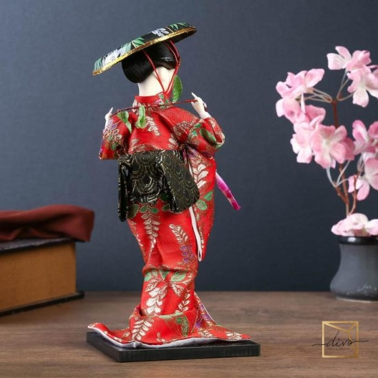 """10911415,Collectible doll """"Japanese woman with a flower branch and a hat"""" 30 cm"""