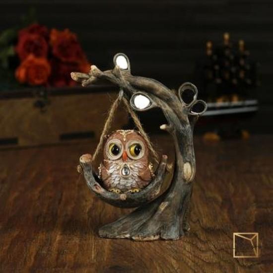 25089845,Souvenir Polystone Owl On A Swing 16-13.2-8 cm