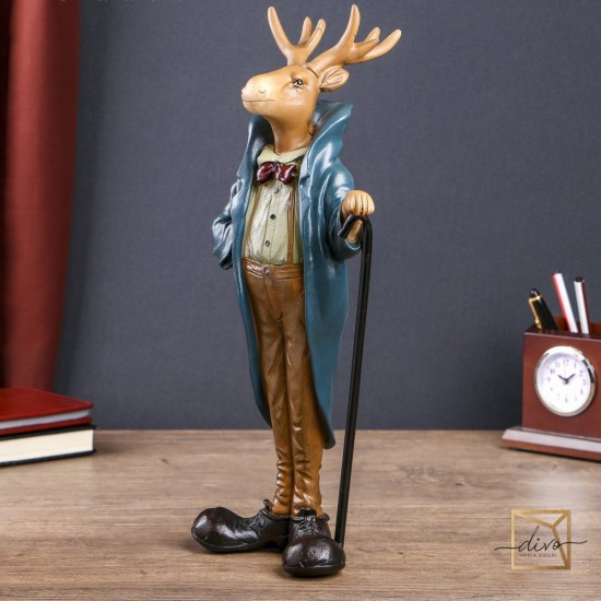 27233265,Souvenir Polystone Elk With Cane In A Coat 37.3-16-12 cm