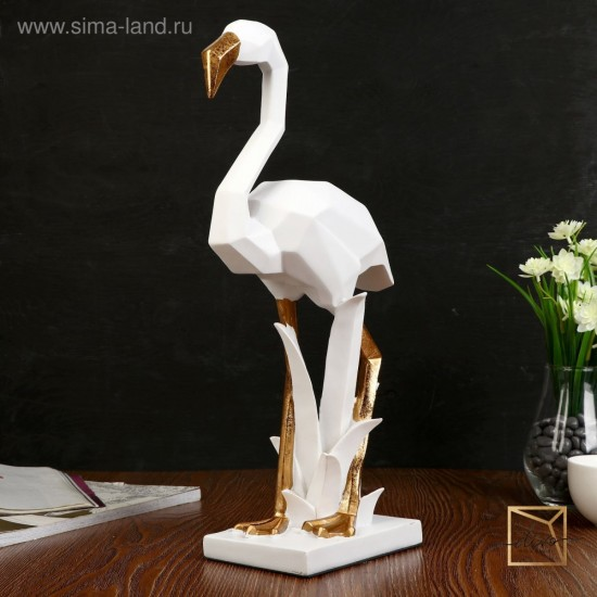 27328092,Souvenir Polistone White Flamingo 3D With Gold 43-20-10.8 cm