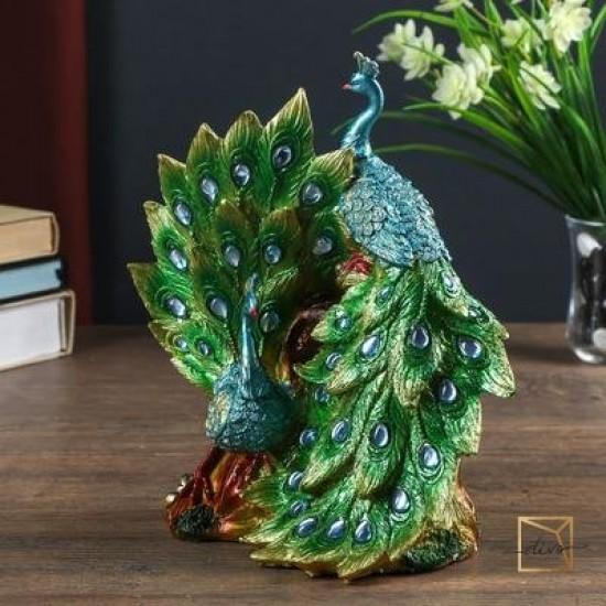 27455030,Souvenir Polistone Two Green Peacocks Rhinestones 25.5-14-24 cm