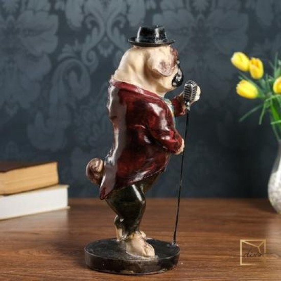 27459513,Souvenir Polystone dog With a Microphone 35.5-14-14 cm