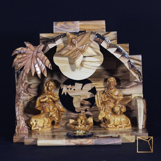 a 2,Christmas Nativity Scene Made of Olive Wood 20-12.5-17 cm