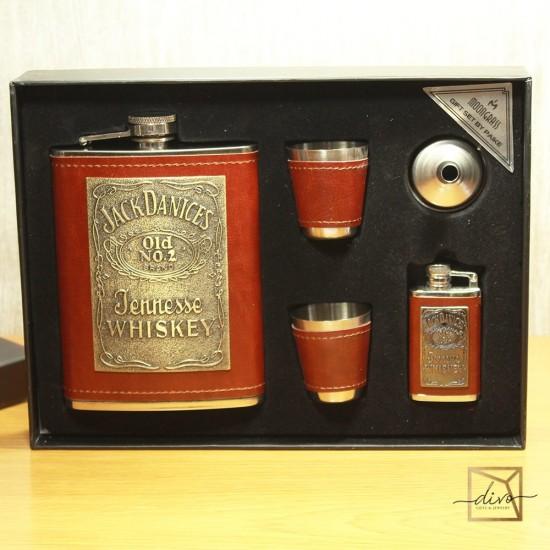 dl-440,Gift Set Always At Height Flask 210 ml Stacks of 2 pcs Funnel Lighter