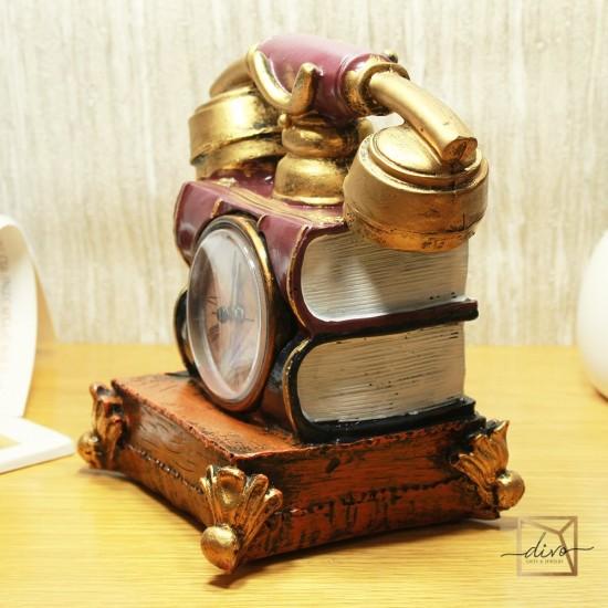 dl-565,Figurine Souvenir Old Telephone With Clock Piggy bank 13-12-16 cm