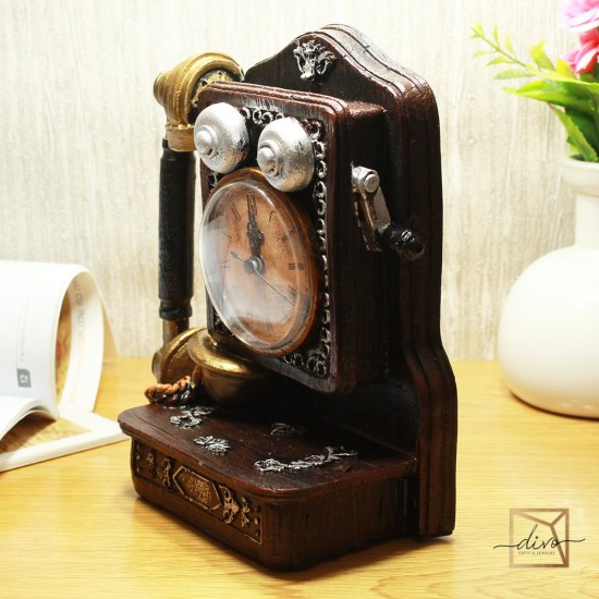 dl-567,Figurine Souvenir Old Telephone With Clock Piggy bank 16-9-20 cm