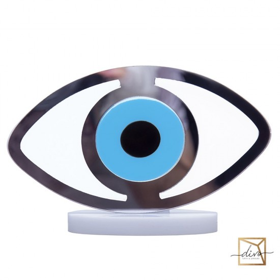 27821460,Amulet in the form of an eye from the evil eye white with blue 14-6-9 cm
