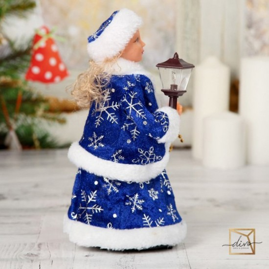 10740104,Snow Maiden With A Lantern, Double Blue Fur Coat, With Lighting, Moving
