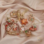 "Set Of Jewelry ""Christmas Assorted"" Gold, Red 12 Pieces"