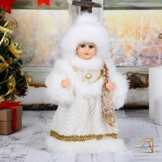 "Snow Maiden ""Chic"" In White - Golden Fur Coat And Hat 30 cm"