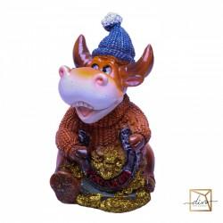 New Year's Piggy Banks Bulls With Horseshoe, 11-9-12 cm, Ceramic