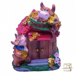 New Year's Piggy Banks Bulls On The House, 10-10-14 Cm, Ceramic
