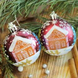 Set of burgundy Christmas balls with a house pattern