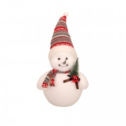 Christmas snowman in a hat with a toy