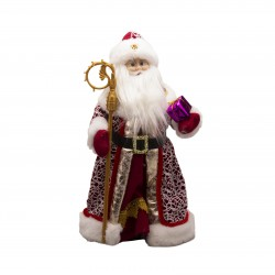 Santa Claus with a staff in a red coat