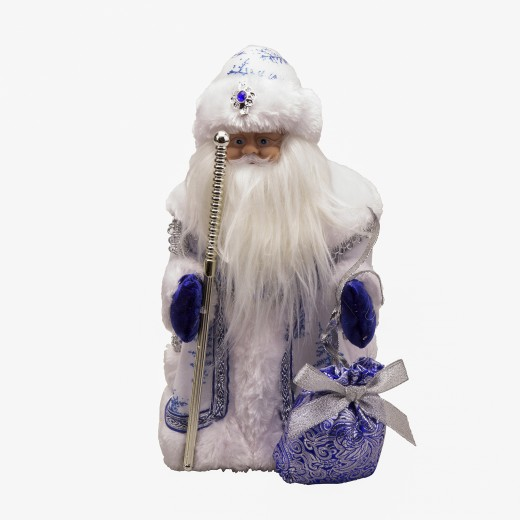 Grandfather frost with a staff in blue clothes, with music