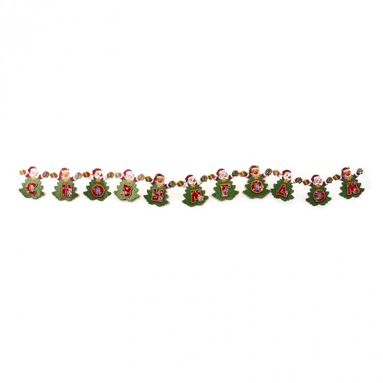 Garland cardboard for New Year with Santa Claus