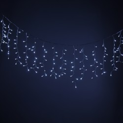 Garland on a Christmas tree with white illumination on 300 bulbs