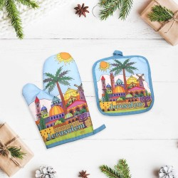 Gift set 2 in 1: a tack and a mitten with design drawing of Jerusalem