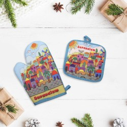 Gift set 2 in 1: a tack and a mitten with design drawing