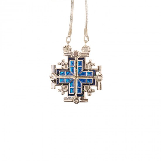 Jerusalem cross. Opening double-sided on a chain