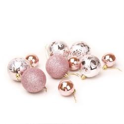 A set of Christmas balls pink