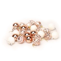 Set of gold and white Christmas balls