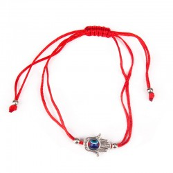 Bracelet on hand with Hamsa Red thread