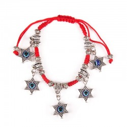 Hand bracelet with hanging Mag David 5 pcs. Red thread.
