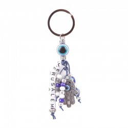 Keychain plastic under the metal hamsa