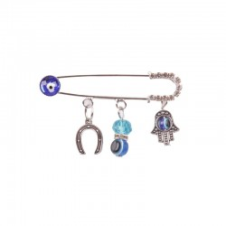 Safety Chip 3 Hanger Hand, with Horseshoe and Bead Charms, 5 cm, blue in silver