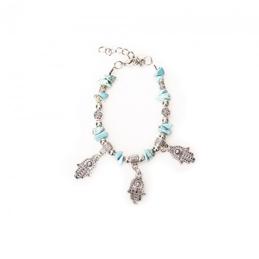 Handmade bracelet with turquoise and Hamsa, silver