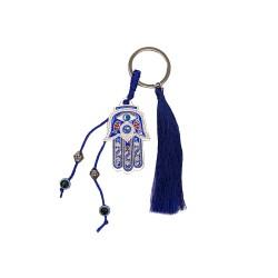 Keychain with Hamsa Hand and Fringe